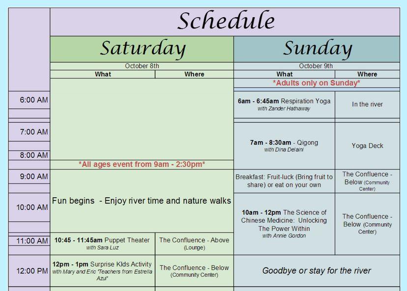 October schedule top screenshot 2